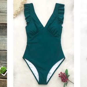 Cupshe Teal Plunge Neck Ruffle Swimsuit Large